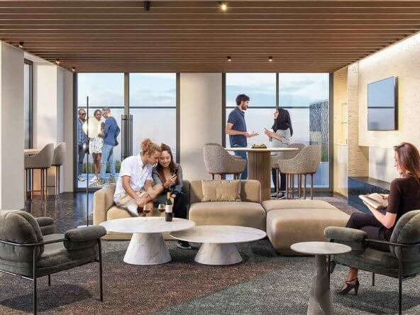 square one district condominiums lounge rendering